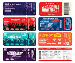 concert ticket maker concert cinema airline and football ticket templates collection