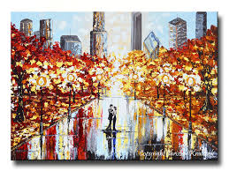 giclee print art abstract painting couple city park dance canvas