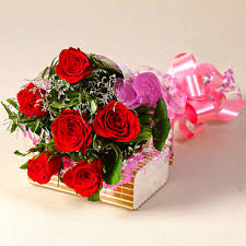 picture image of six red roses love you bouquet