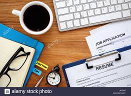 Job Search With Resume And Job Application On Work Table Background