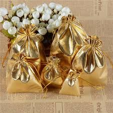 gold silver metallic color organza bag jewelry packaging bag wedding favor pouches drawstring gift bags yellow wrapping paper cool wrapping paper from