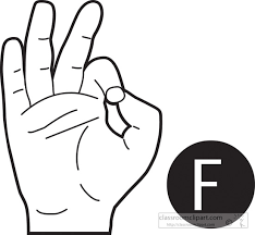 sign language letter f american sign language clipart sign language letter f outline