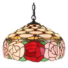 amora lighting tiffany style 2 light roses hanging pendant lamp 16 in wide