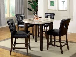 furniture of america cm3693rpt 5 pc lisbon iii contemporary style dark walnut finish round marble top counter height dining table set