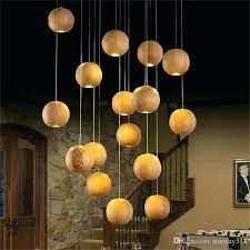 chandeliers modern wood chandelier led creative wooden ball pendant lamp light meteoric shower stair res modern