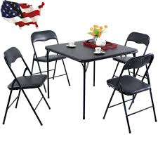 5 pcs black folding table chair set kitchen dining room kitchen chair pads set of 4