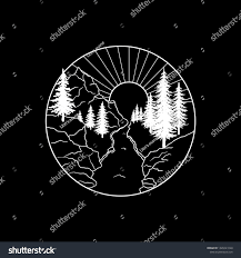 Mountains Landscape Forest Sun River Hand Stock Vector Royalty Free
