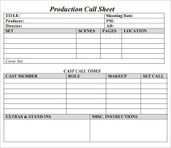 Casper Call Sheet Production Template Excel Spreadsheet Makes Sheets