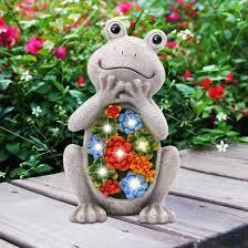 frog solar garden decor statues