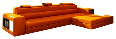 modern leather sectional couch. Delighful Modern Polaris Mini Contemporary Leather Sectional Sofa With Light Orange In Modern Couch