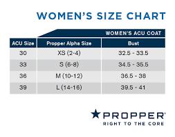 Military Size Chart Propper Womens Acu Coat