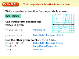 example 1 write a quadratic function in vertex form write a quadratic function for the parabola