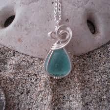 mini aqua blue sea glass pendant