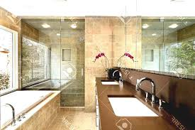 brown mosaic granite wall white acrylic washbawl simple master bathroom design stainless steel sliding glass door