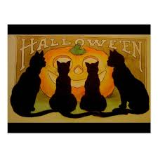 vintage halloween black cat. Wonderful Cat Vintage Halloween Black Cats And Jack Ou0027Lantern Postcard On Cat