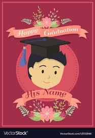 Happy Graduation Boy Red Greeting Card Royalty Free Vector