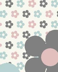 Behang Bloemen Blauw Roze Tinklecherry