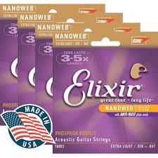 elixir acoustic extra light phosphor bronze nanoweb 10 47 4 sets