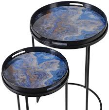 blue marble effect side table set of 2