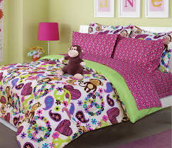hot pink green peace sign hearts monkey girl bedding twin or full peace sign bed sets
