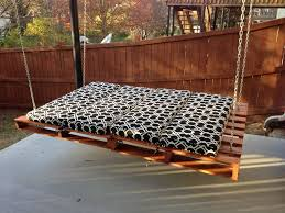 Bedroom:Gorgeous Outdoor Hanging Bed Design With Black And White Bedding  And Pallet Wood Pallet