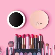 creative best gift vanity hand mirror usb rechargeable led makeup mirror lights portable size round pact