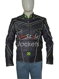 wolverine black green leather jacket