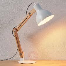 Wood Desk Lamp Shivanja With White Lampshade Lightscouk