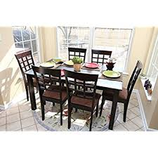 com roundhill furniture amery 7 piece dining set dark with 6 person table plans 3