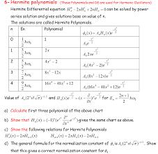 6 Hermite Polynomials These Polynomials And De A