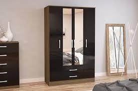 Full Size of Wardrobe:large Black Wardrobe Birlea Lynx Door Drawer With  Mirror High Gloss ...