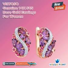 <b>VISTOSO Gold Earrings For</b> Women Genuine 14K 585 Rose Gold ...