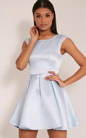 Loura Dusty Blue Satin Open Back Skater Dress Dresses