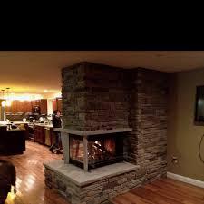 three sided fireplace