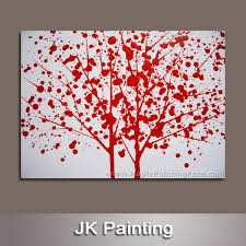 custom personalized red tree printing digital photo on canvas with drop modern painting