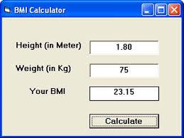 Bmi Calculator Created Using Vb6
