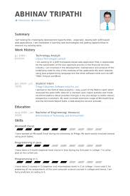 Technology Analyst Resume Samples Visualcv Resume Samples Database