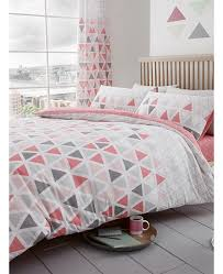 geometric triangle single duvet cover and pillowcase set pink