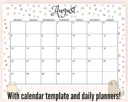 Cute Calendar Template Beauteous Free August 44 Monthly Calendar Plus More Printables And