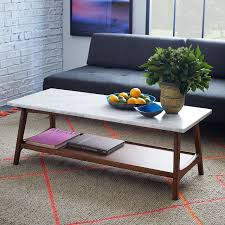 west elm style furniture. Rectangular Coffee Table With Marble Top Design And Solid Wood Base Of Legs From West Elm Mid Century Styles Also Exposed Brick Wall For Living Style Furniture