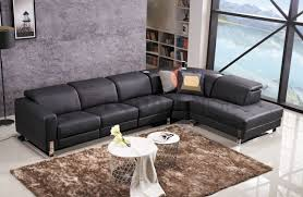 black leather modern corner sofa with audio system and power motion recliner