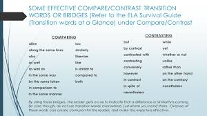 transitional words phrases compare and contrast essay expressions