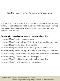 Sample Security Consultant Res