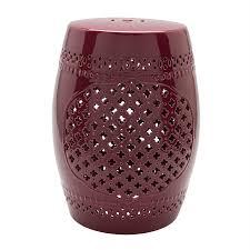 surya auburndale 18 1 in burdy ceramic barrel garden stool