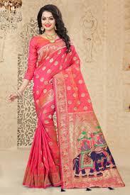 Kalaniketan Designer Sarees Uppada Silk Designer Saree In Pink With Fancy Designs