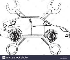 Automotive Design Tools Industry Automotive Car Crossed Wrench Tools Stock Vector