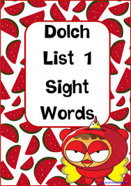 Sight Words Dolch Pre Primer List 1 Cards