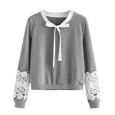 Balakie Womens Lace Sweatshirt Bow Long Sleeve Casual Solid