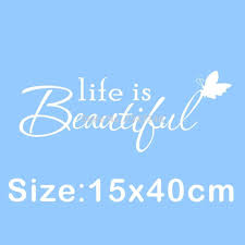 Us 171 14 Offbutterfly Lettering Quotes Wall Decal Life Is Beautiful Vinyl Sticker For Home Decor In Wall Stickers From Home Garden On