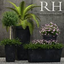 restoration hardware paneled sheet metal planters 3d model max fbx 1